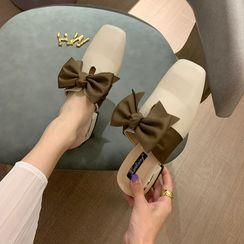 Crystella - Bow Accent Block Heel Mules