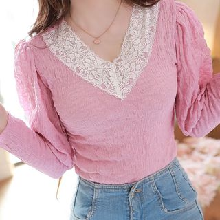 MyFiona - Puff-Sleeve Lace-Trim Crinkled Top