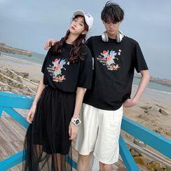 Azure - Couple Matching Short-Sleeve Graphic Print T-Shirt / T-Shirt Dress / Mesh A-Line Skirt / Shorts / Set