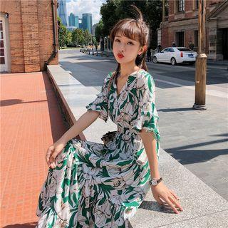 SEPH - Floral Elbow-Sleeve Maxi Chiffon Sun Dress