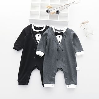 MOM Kiss - Kids Tuxedo Styled Long-Sleeve Bodysuit