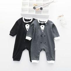 MOM Kiss - Kids Tuxedo Styled Long-Sleeve Bodysuit