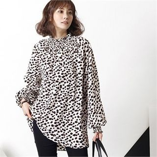 HALUMAYBE - Smocked Stand-Collar Dotted Chiffon Blouse