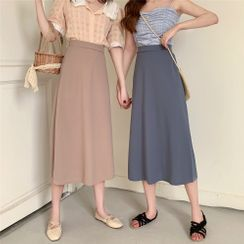 Luna Rouge - Plain Midi Skirt