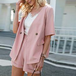 Simplee - Set: Short Sleeve Plain Blazer + Shorts