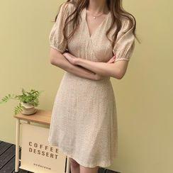 Leoom - Floral Print Puff-Sleeve Mini A-Line Dress