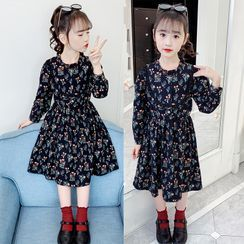 Qin Qin - Kids Long-Sleeve Floral Print Midi A-Line Dress