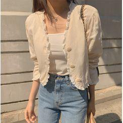 Finlo - 3/4-Sleeve Single-Breasted Linen Jacket
