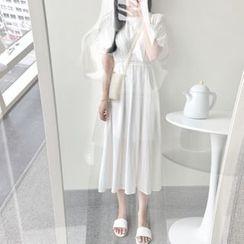 Leoom - Short-Sleeve Lace Trim Midi Dress