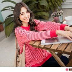 OrangeBear - Contrast Trim Striped Knit Top