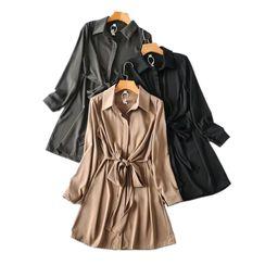Dewewan - Long-Sleeve Mini A-Line Satin Shirt Dress