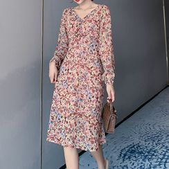 YUMU - Long-Sleeve Floral Midi Dress
