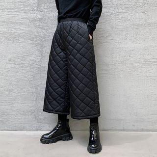 ANCHO - 菱格夾棉寬腿八分褲