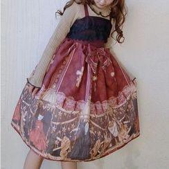 Tomoyo - Sleeveless Printed Midi A-Line Dress