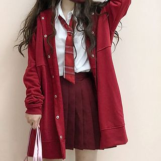 Tomoyo - Hooded Button Jacket