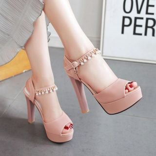 JY Shoes - High-Heel Platform Beaded Sandals