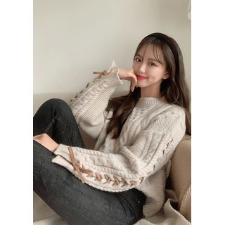 chuu - Lace-Up Cable-Knit Sweater