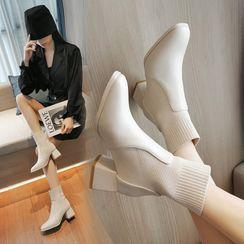 Anjay - Knit Panel Chunky Heel Short Boots