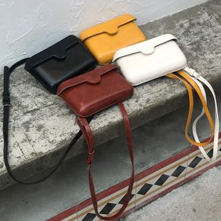 Ikebag(イケバッグ) - Retro Faux Leather Crossover Satchel