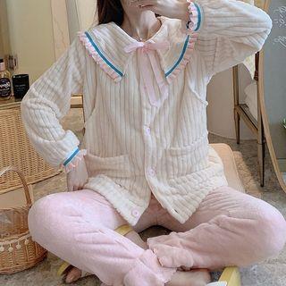Jezpa - Maternity Pajama Set: Fleece Ribbed Jacket + Lounge Pants