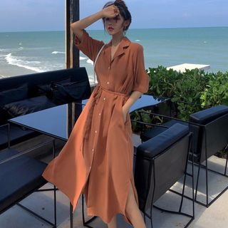 Glen Glam - Elbow-Sleeve Midi Shirt Dress