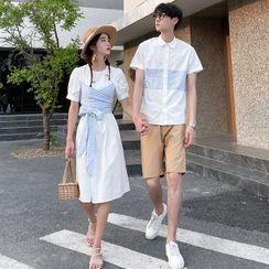 Azure - Couple Matching Gingham Panel Short-Sleeve Shirt / Mock Two-Piece Shift Dress