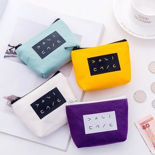 School Time - Lettering Canvas Coin Purse