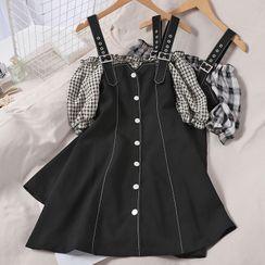 Oneiroi - Mock Two-Piece Plaid Panel Cold-Shoulder Mini A-Line Dress