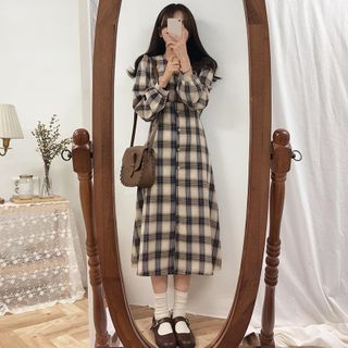 Fabrica - Long-Sleeve Midi Plaid Shirtdress