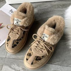 Weiya - Faux Suede Leopard Print Lace-Up Ankle Snow Boots