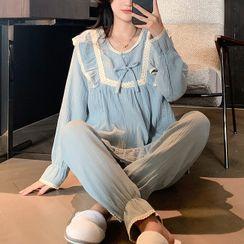 Endormi - Pajama Set: Long-Sleeve Lace Trim Top + Pants