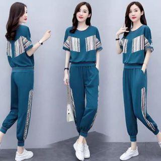 Ayibu - 套裝: 中袖條紋拼接T裇 + 運動褲