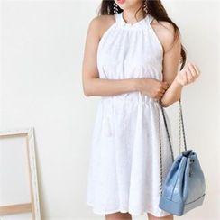 DRESSNALDA - Halter Embroidered Dress with Cord