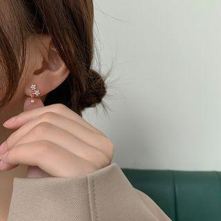 Bmuse - 水钻星星耳钉 / 夹式耳环