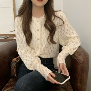 Thinmia(シンミア) - Crewneck Lace Blouse