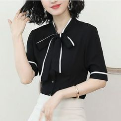 In the Mood - Short-Sleeve Tie-Neck Chiffon Blouse