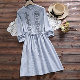 Angel Love - Long-Sleeve Embroidered A-Line Dress