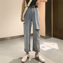 Moon City - Washed Ripped Straight-Cut Jeans