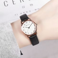 Epoca - Set: Faux Leather Strap Watch + Triangle Bangle