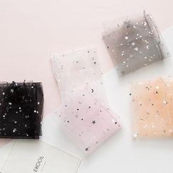 MEIA - Set of 2: Star Print Mesh Socks