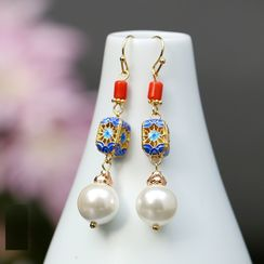 Kanzashi - Retro Faux Pearl Dangle Earring