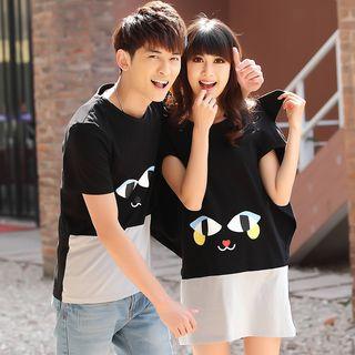 NoonSun - Couple Matching Cartoon Print Short-Sleeve T-Shirt