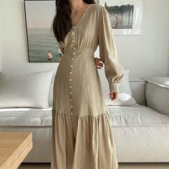Clematra - Long-Sleeve V-Neck Midi Shift Dress