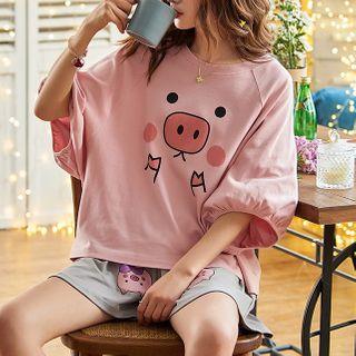 Jeony - Printed Short Sleeve Pajama Set