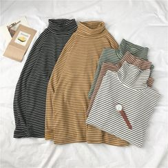 Algodon - Striped Turtleneck Long-Sleeve T-Shirt