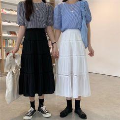 Baseris - Shirred Midi A-Line Skirt