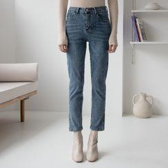 NAIN - Deep-Slit Straight-Cut Jeans