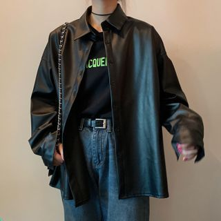 Laurinda - Faux Leather Button-Up Jacket