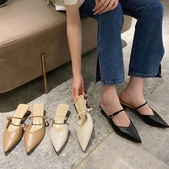 KICKOFF - Block Heel Pointed Mary Jane Mules