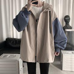 YERGO - 雙色連帽拉鏈外套